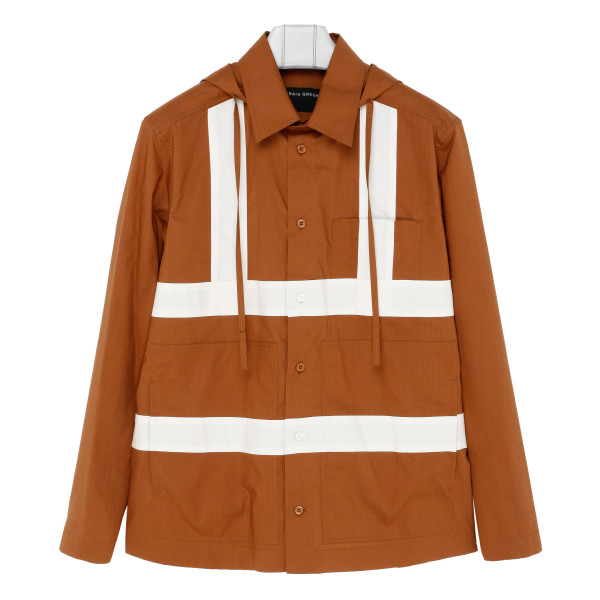 Orange Hooded panelled cotton shirt