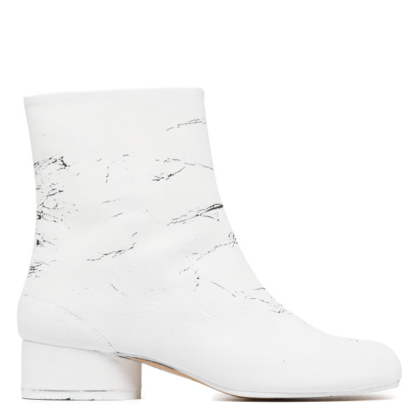 White leather Tabi boots