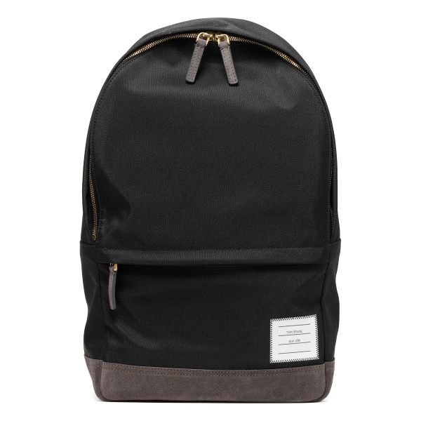 Black nylon and suede unstructured backpack