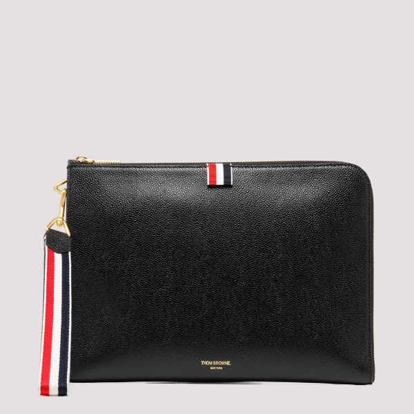 Black pebbled leather pouch