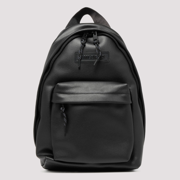 Black leather logo backpack