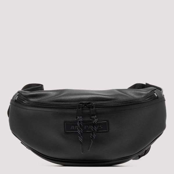 Black leather logo belt bag