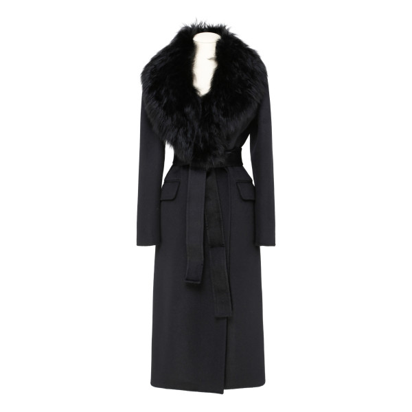 Black angora and wool-blend coat