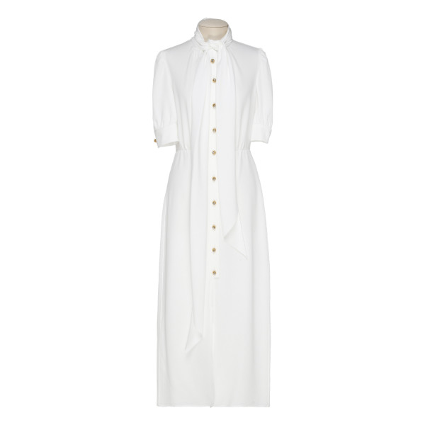 White viscose-blend dress