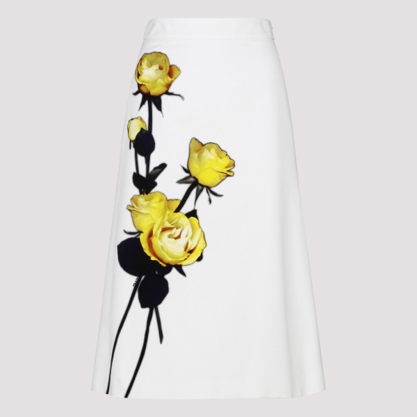White cotton poplin skirt