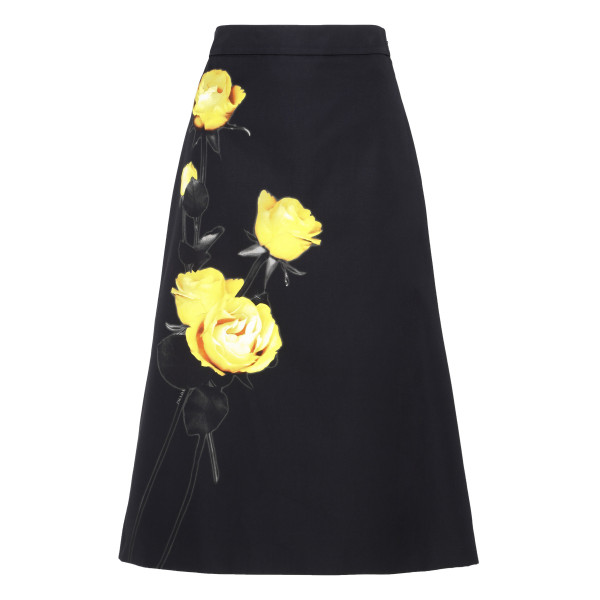 Black cotton-poplin skirt