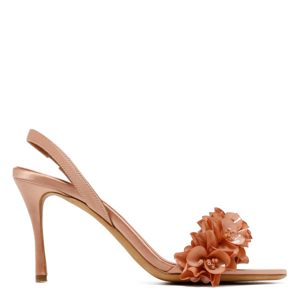 Follie powder pink satin sandals