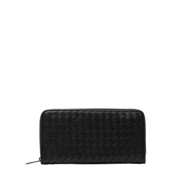 Black intrecciato zip around wallet
