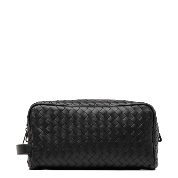 Black intrecciato toiletry case