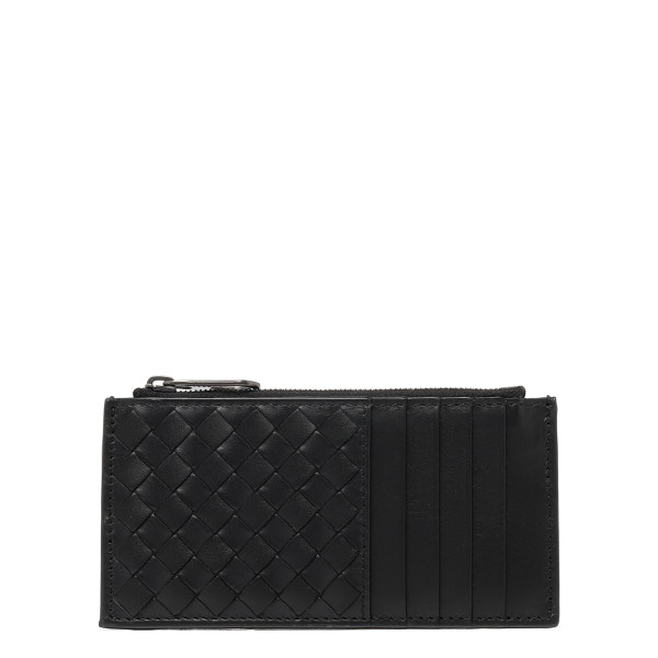 Black intrecciato leather card-holder