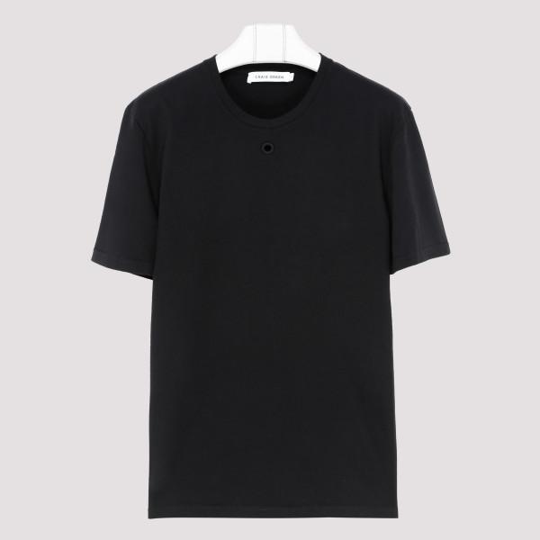 Black cotton Hole T-shirt
