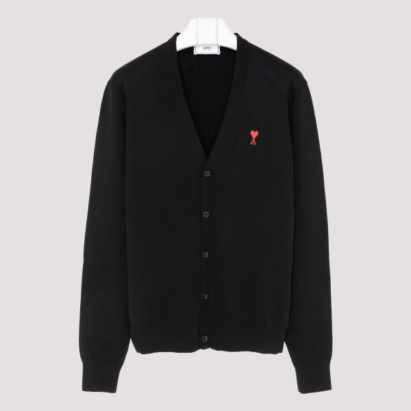 Black wool cardigan with logo