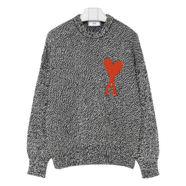Gray cotton blend sweater with logo