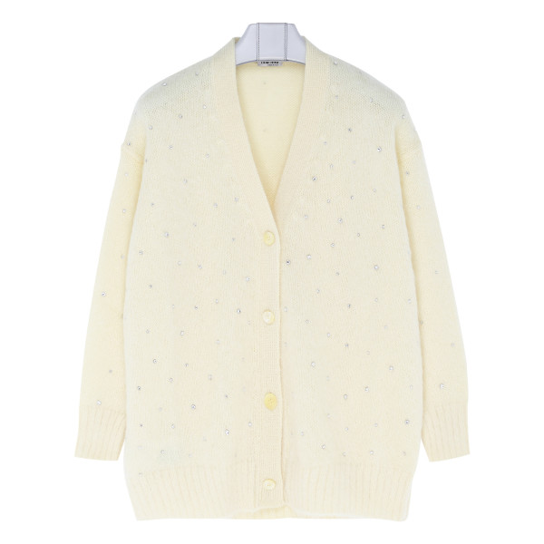 Pale yellow mohair-blend cardigan