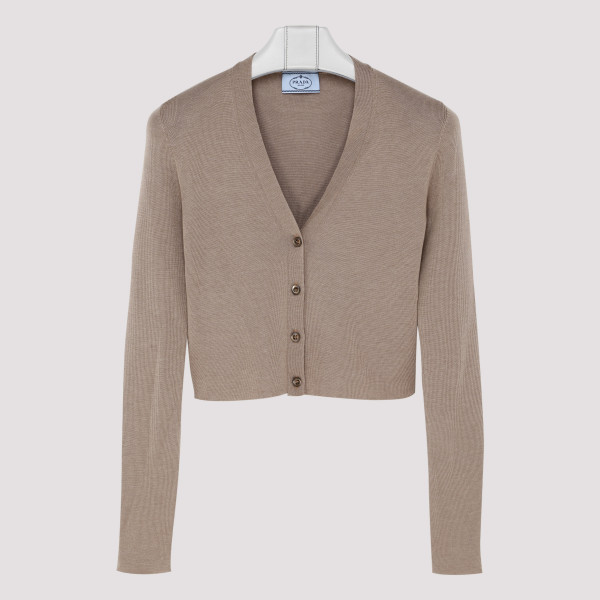 Taupe cashmere-blend cardigan