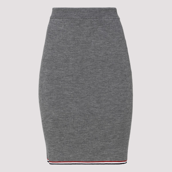 Gray knitted merino wool skirt