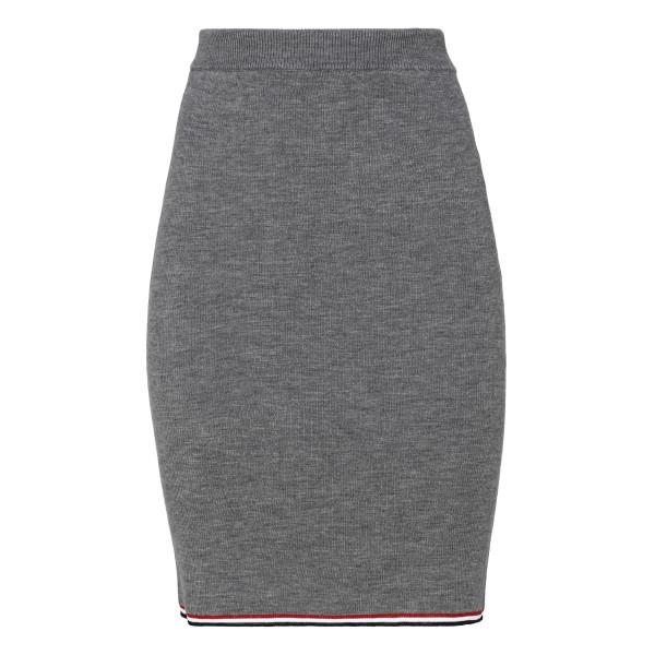 Gray knitted merino wool skirt