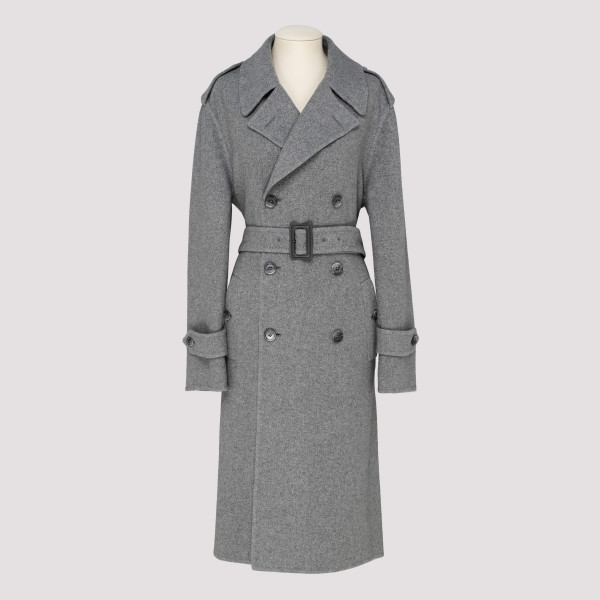 Gray cashmere belted coat