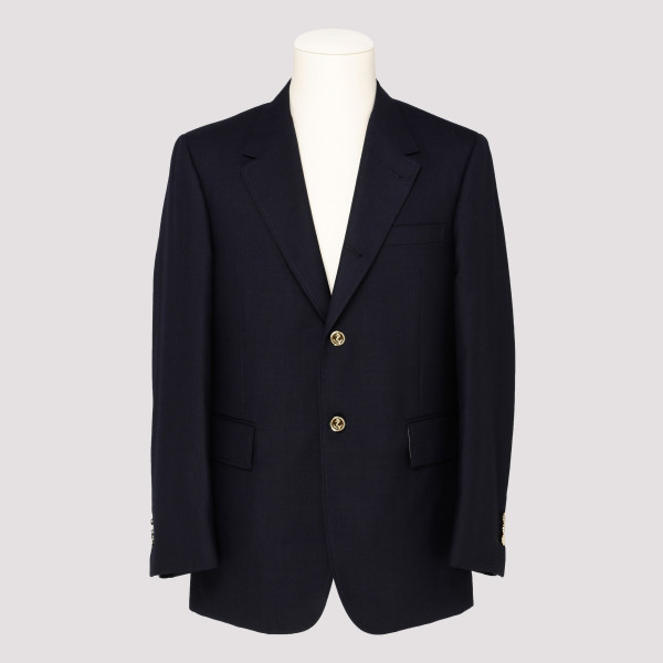 Blue notched lapel blazer jacket