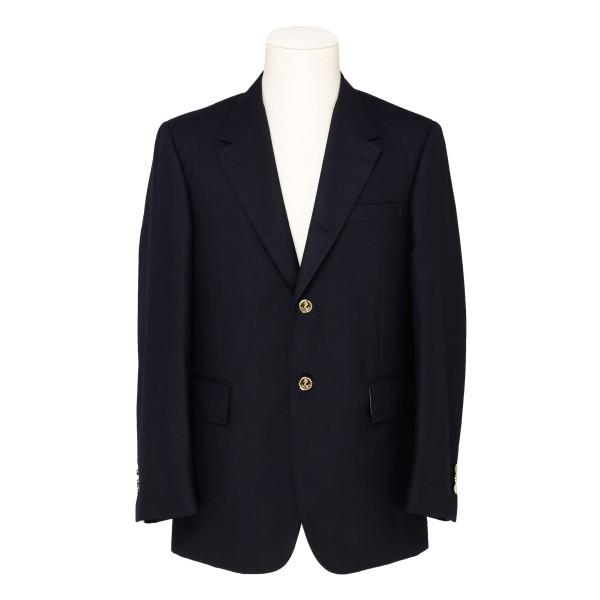 Blue notched lapel blazer jacket