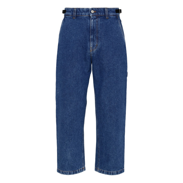 Blue straight-leg buckle-side jeans