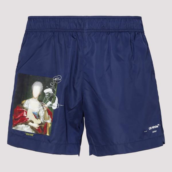 Blue printed swimshorts