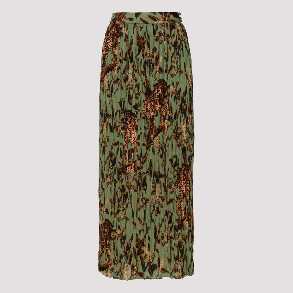 Jungle-print pleated skirt