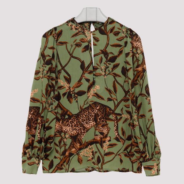 Jungle print balloon sleeve blouse