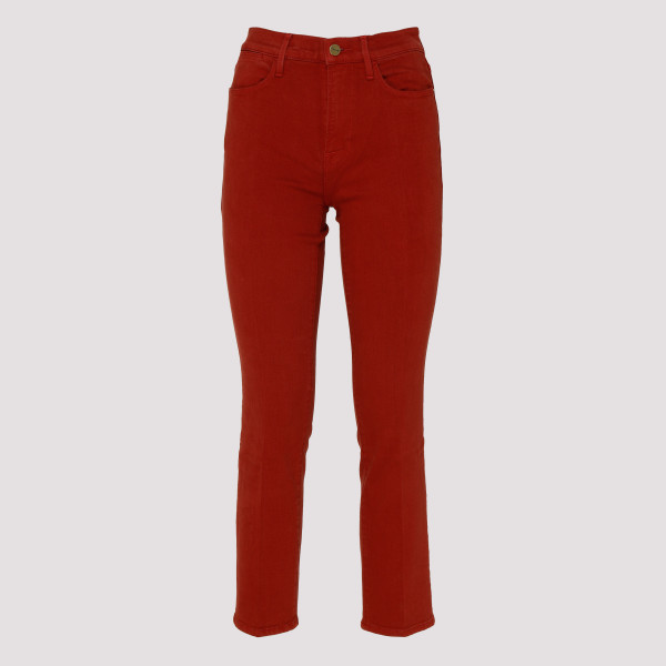 Red cropped slim-fit jeans