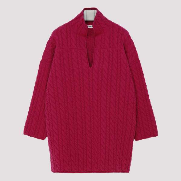 Strawberry cable-knit wool...