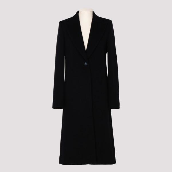 Black virgin wool-blend coat