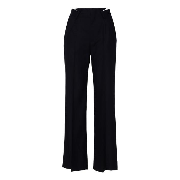 Black wool-blend pants