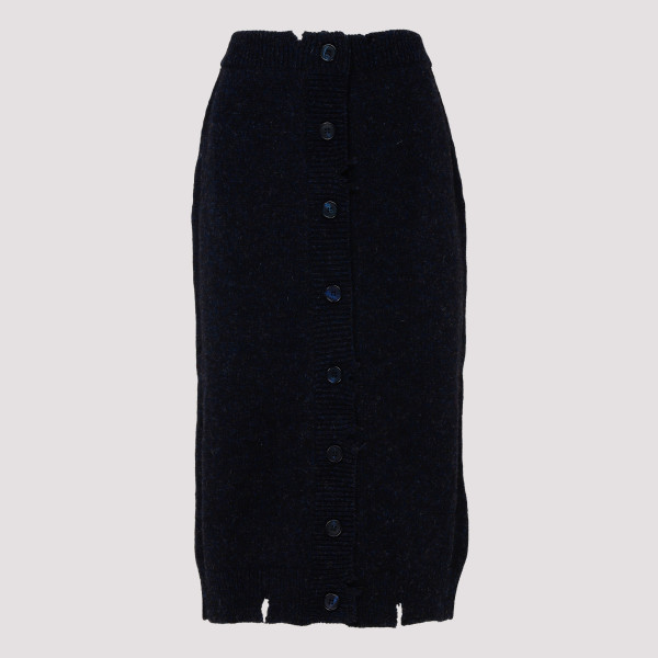Navy blue knitted pencil skirt