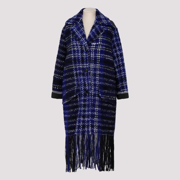 Blu macro-checkered wool tweed coat