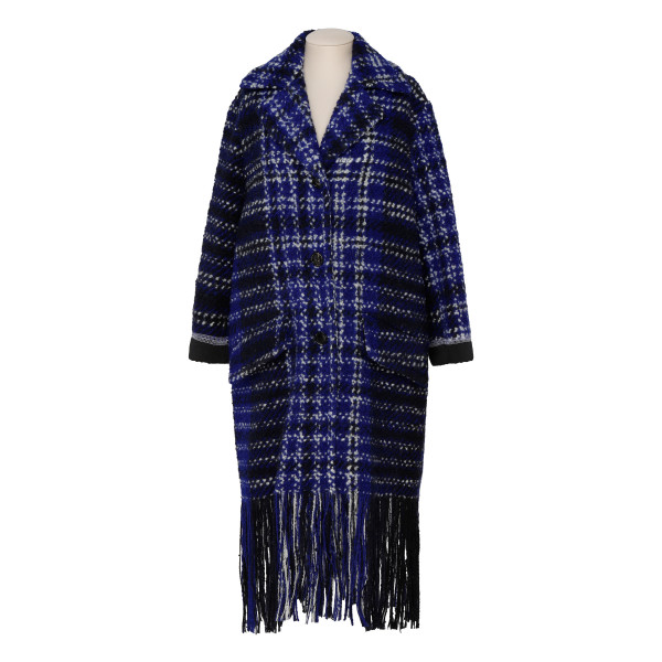 Blu macro-checkered wool tweed coat
