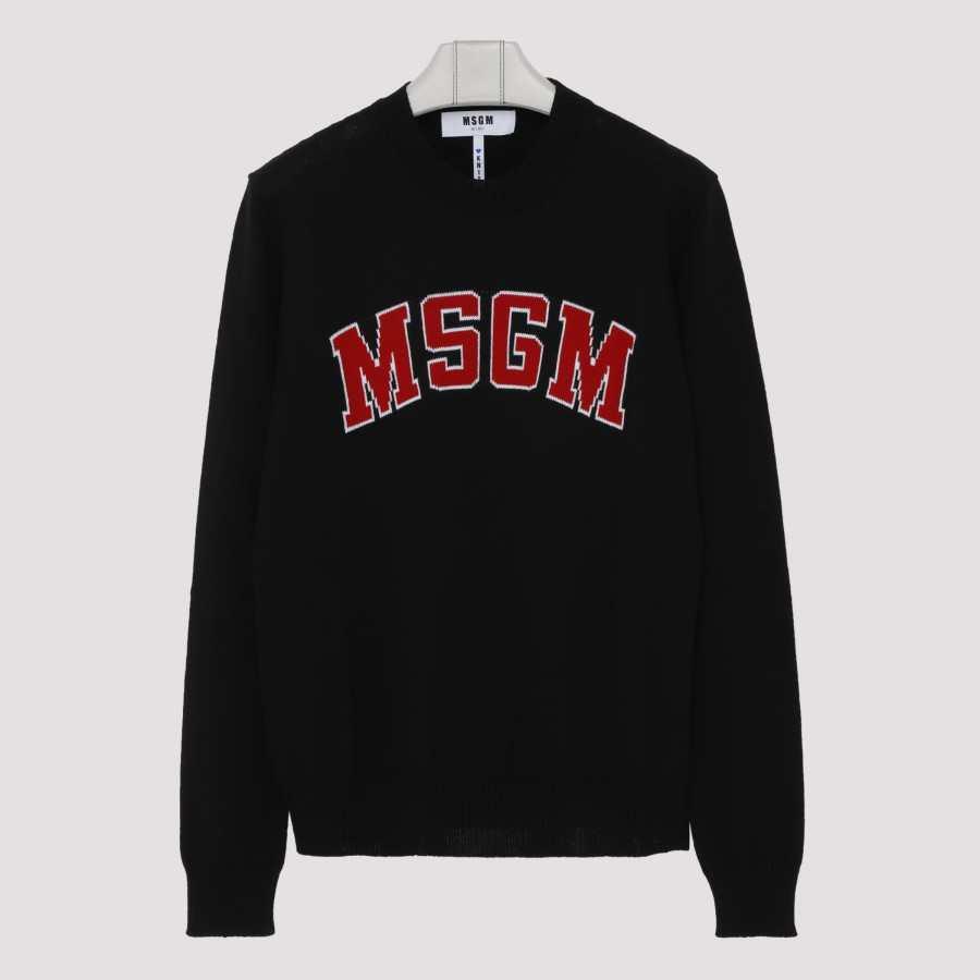 Black wool blend sweater with logo