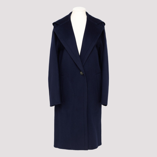 Blue hooded wool coat