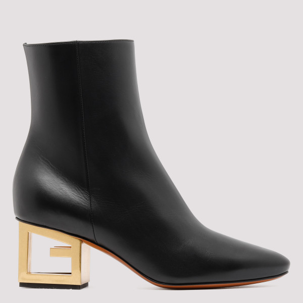Black leather G heels boots
