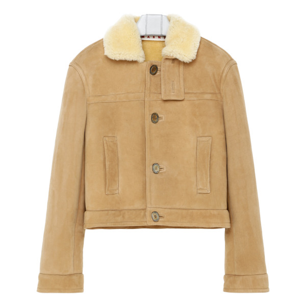 Beige suede leather jacket
