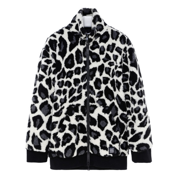 Faux fur jacket with animalier print