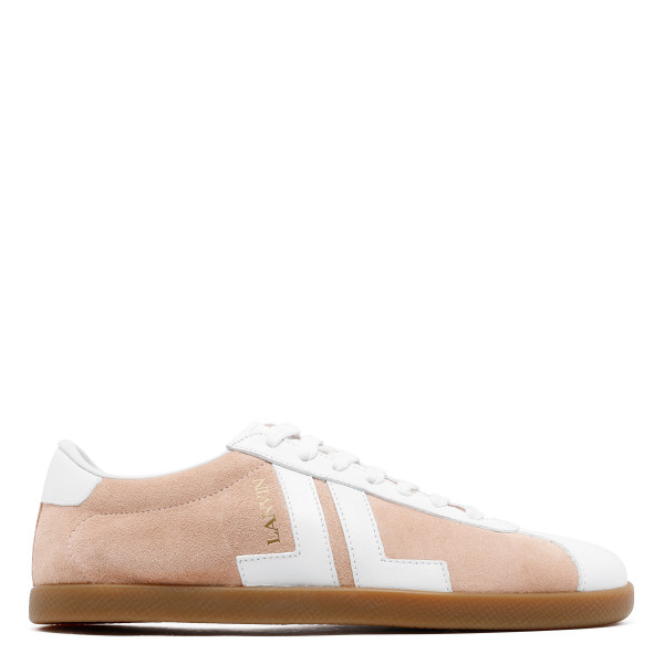 JL cream and white low top sneakers