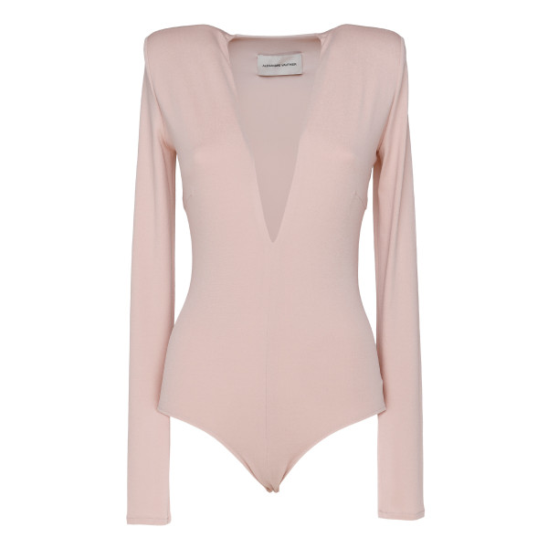 Pink Plunging Crepe Body Suit