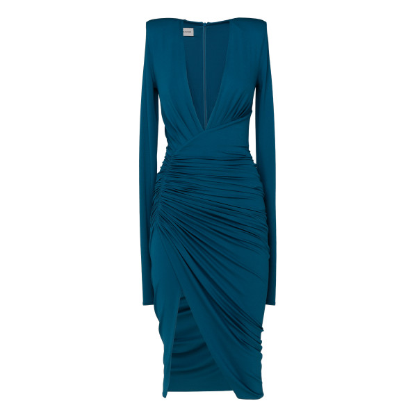 Blue deep v-neck ruched mini dress
