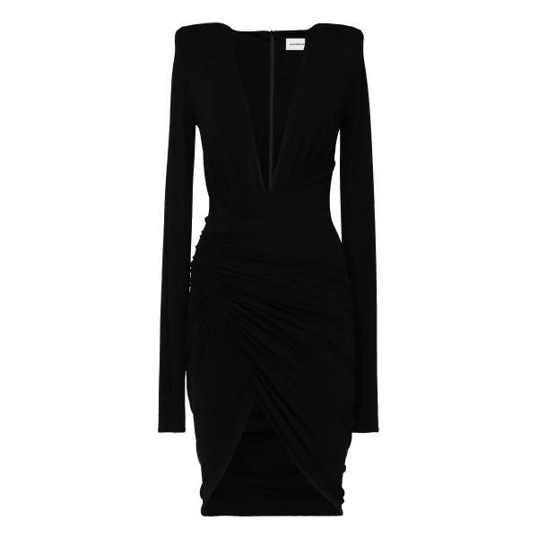 Black deep v-neck ruched mini dress