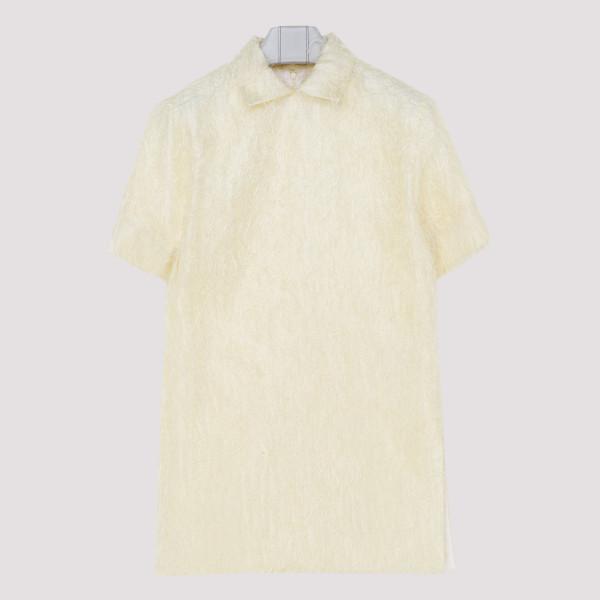 Yellow Fuzzy Silk-Blend Top