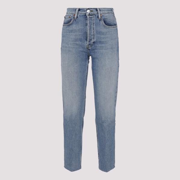 Blue frayed hem cropped jeans