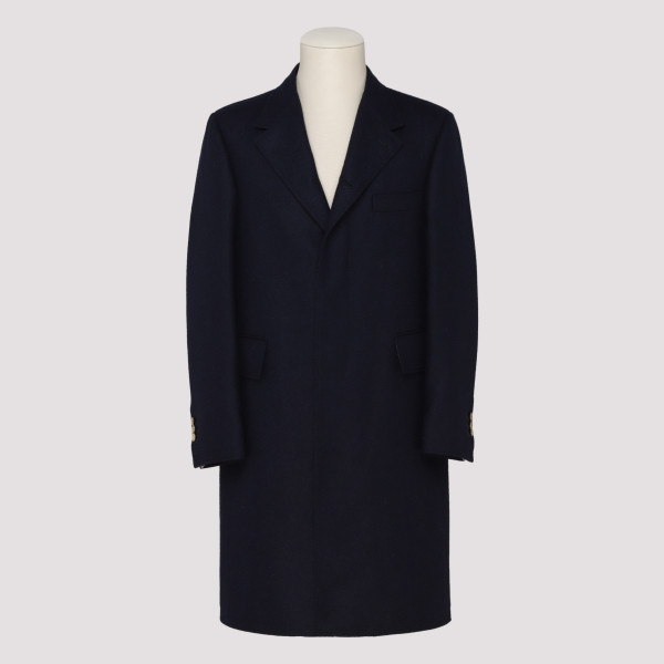 Long blue wool coat