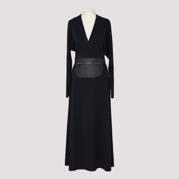 Navy wool dress with...