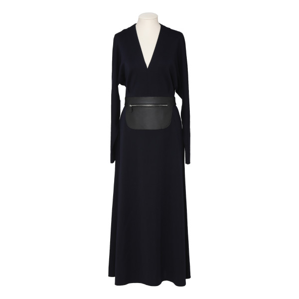 Navy wool dress with leather belt
