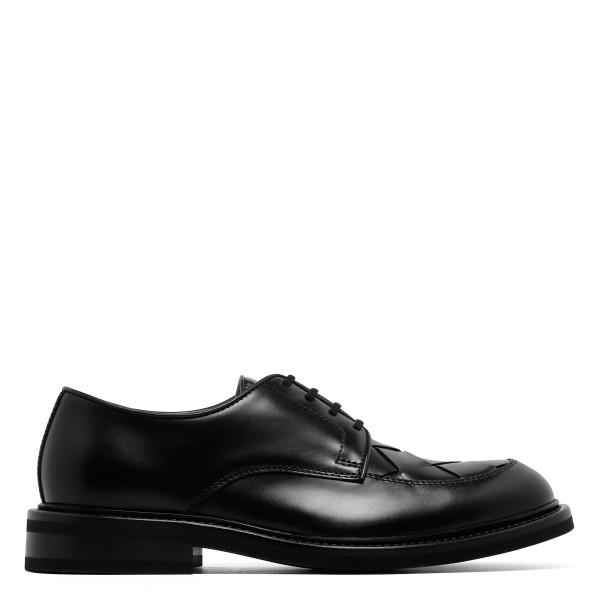 Intrecciato black derby shoes